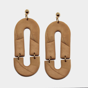 Pepper You Statement Sand Oval Earrings