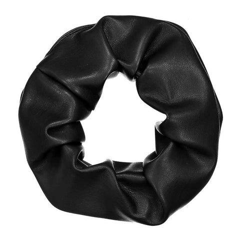 Black Leather Scrunchie - Coffee and Cloth