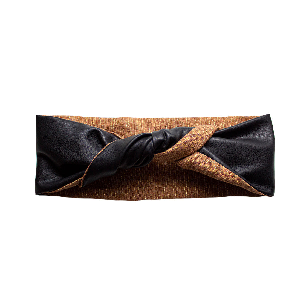faux black leather headband