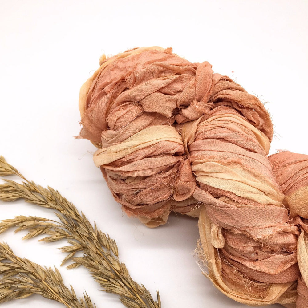 Peach Recycled Chiffon Sari Ribbon