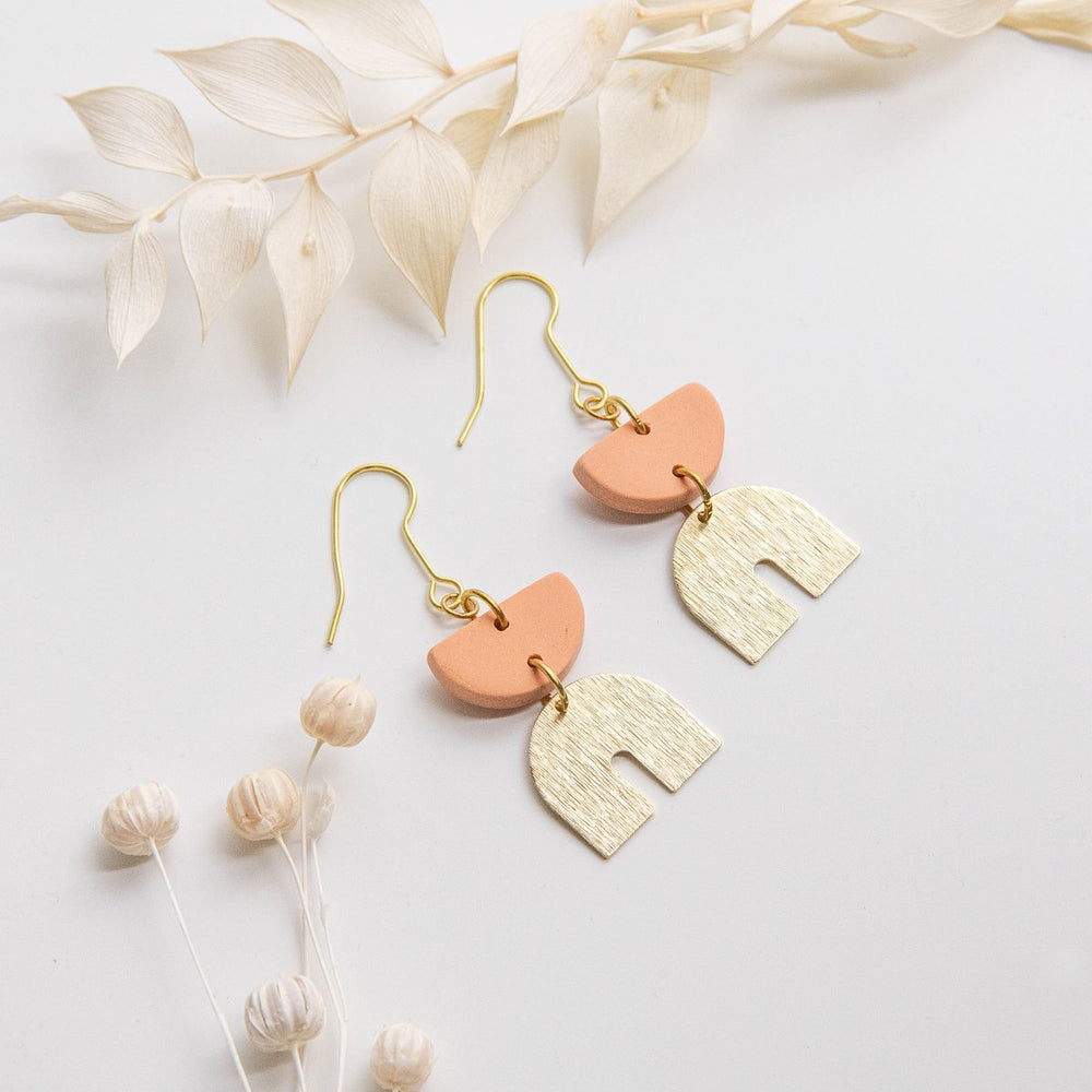 Pepper You Arc Drop Earrings in Peach