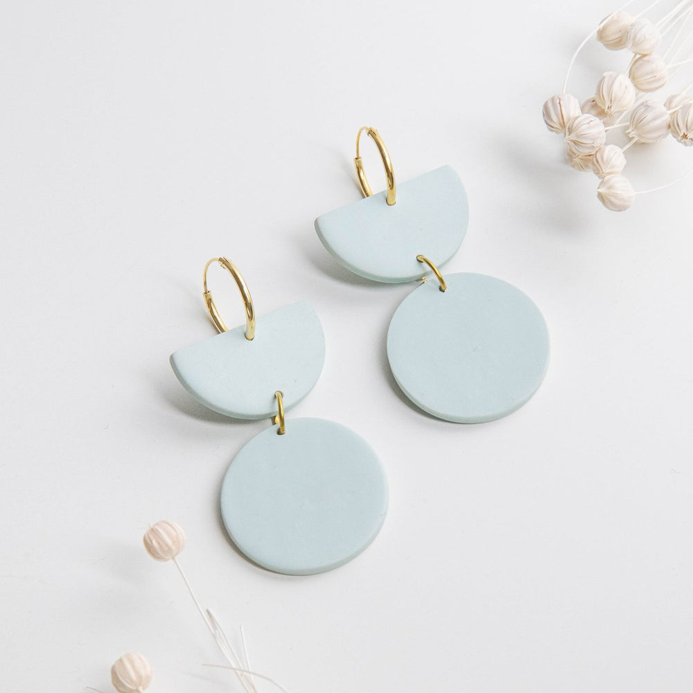 Load image into Gallery viewer, Pepper You Stephanie Hoop Earrings in Faded Blue