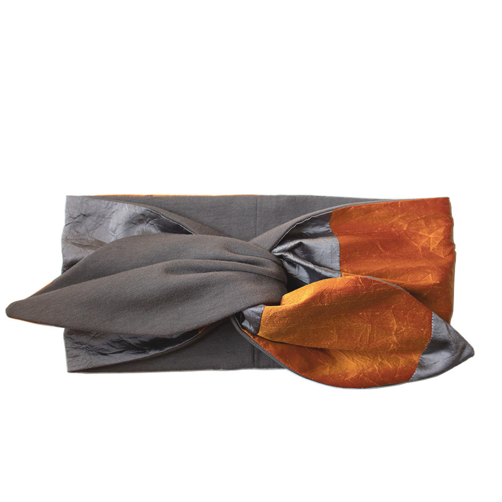 Load image into Gallery viewer, Grey & Persimmon Headband Soleluna in silk & jersey fabric