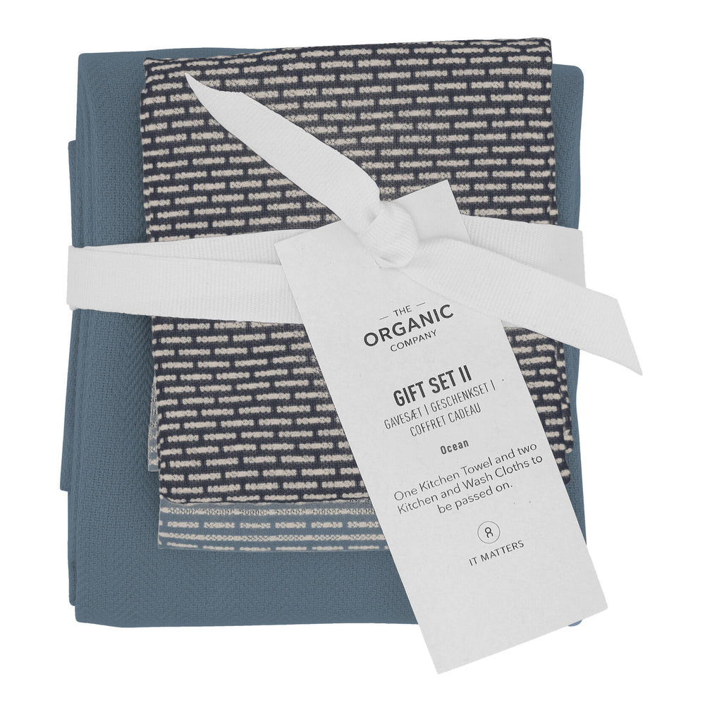 The Organic Company Kitchen Towel & Wash Cloths Gift Set – Ocean
