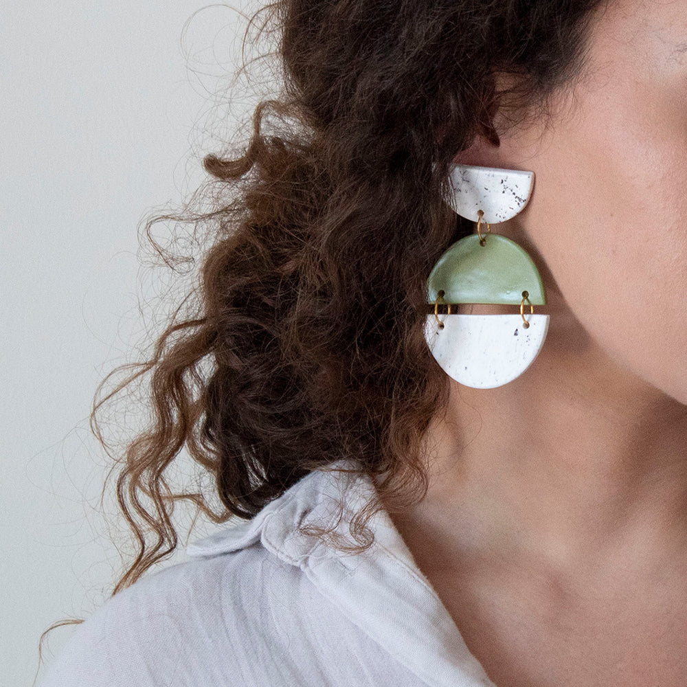 Azadeh Olive & White Earrings Sally