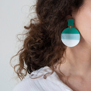 Load image into Gallery viewer, woman wearing azadeh francesca style earrings in jade green colour