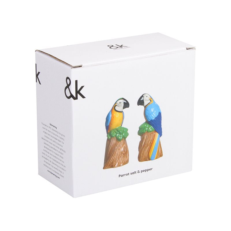 back of cardboard box with Parrot Salt And Pepper Shaker Set