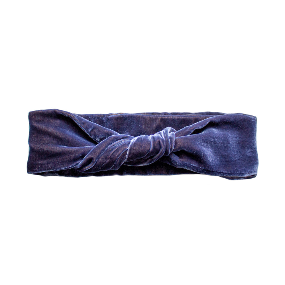 Load image into Gallery viewer, Navy Blue Silk Velvet Headband by cloth label on white background