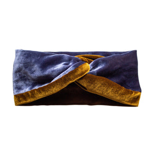 Load image into Gallery viewer, Mustard & Blue Silk Velvet Headwrap