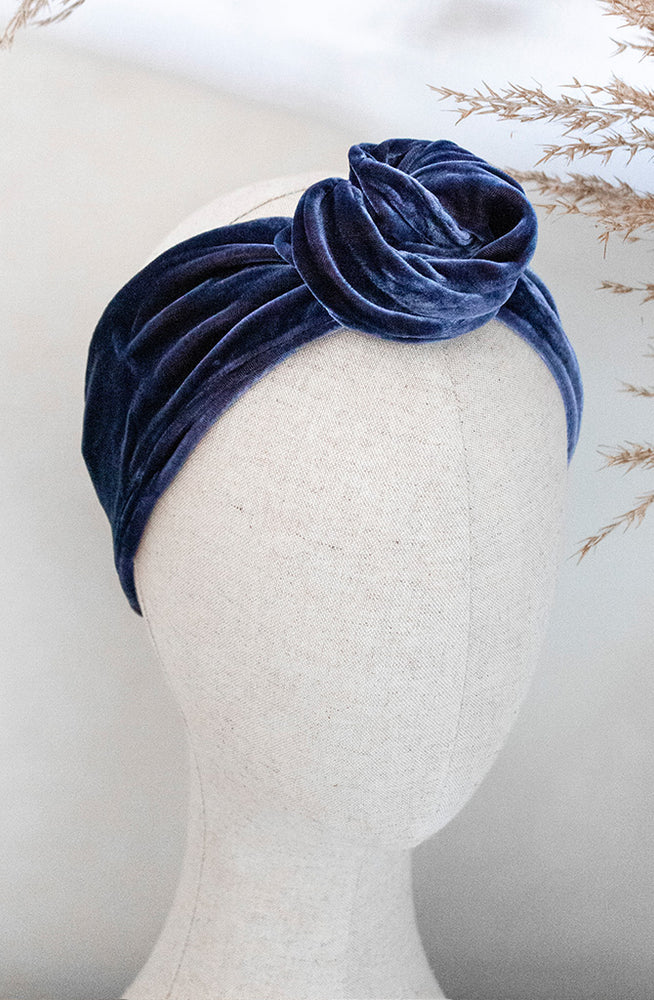 Load image into Gallery viewer, Navy Blue Silk Velvet Headband styled on mannequin head