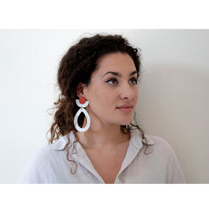 Load image into Gallery viewer, woman wearing Azadeh Statement Earrings Maya