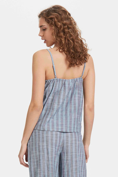 ICHI Tulle Blue Mirage Stripe Camisole Top - Coffee and Cloth