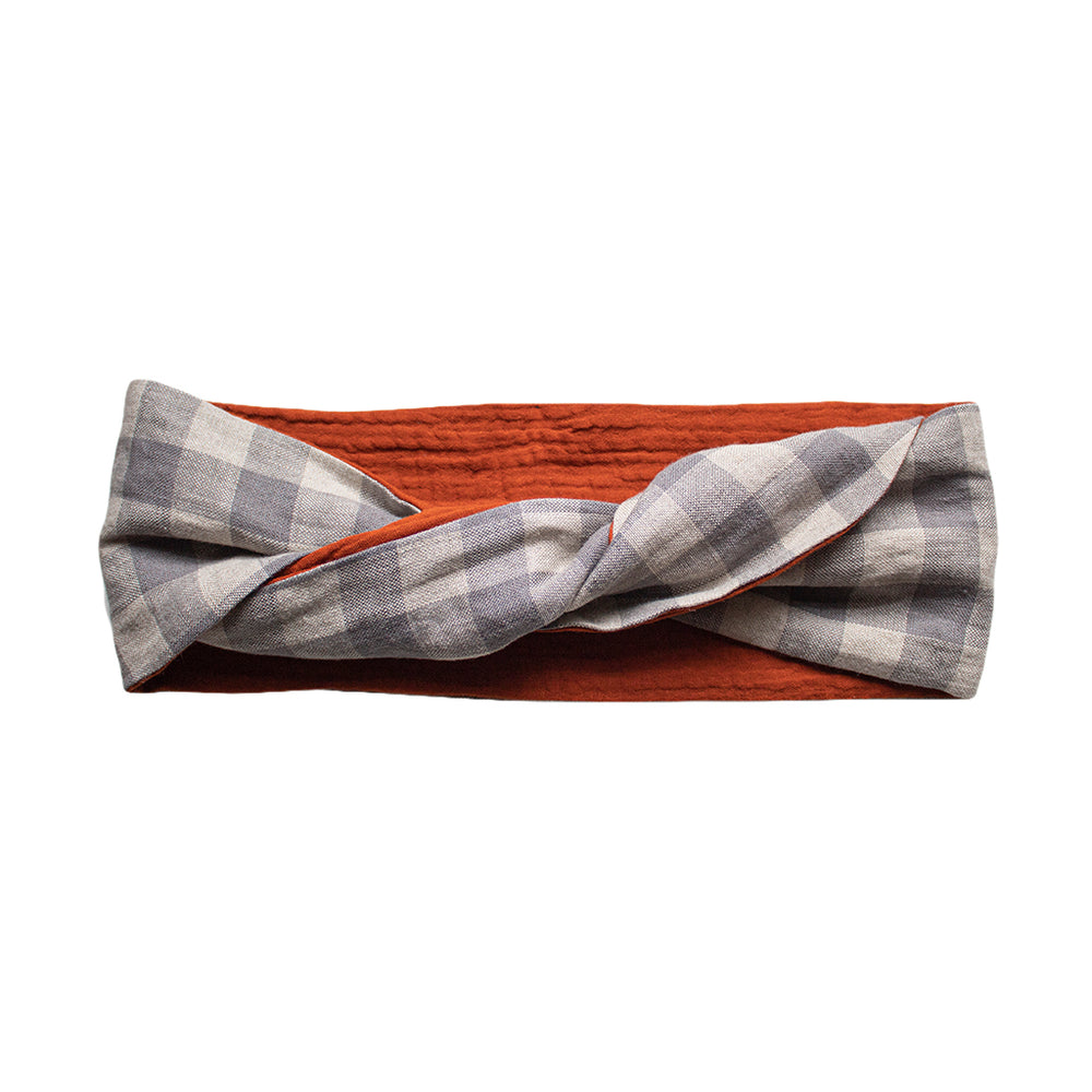 Load image into Gallery viewer, cloth label checked grey and orange headband