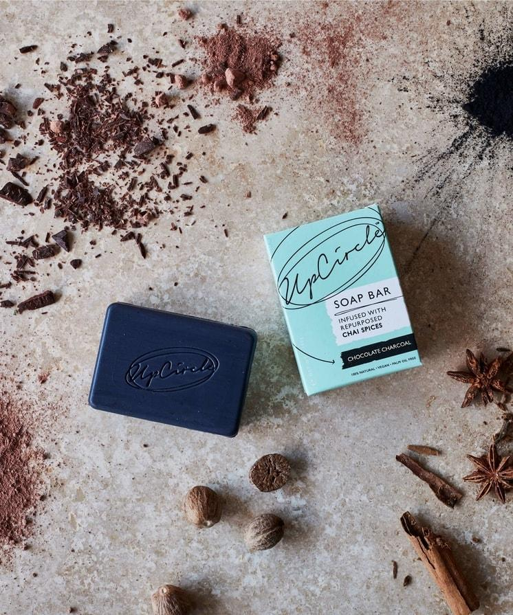 Up Circle Chocolate Charcoal Chai Soap Bar - Coffee and Cloth