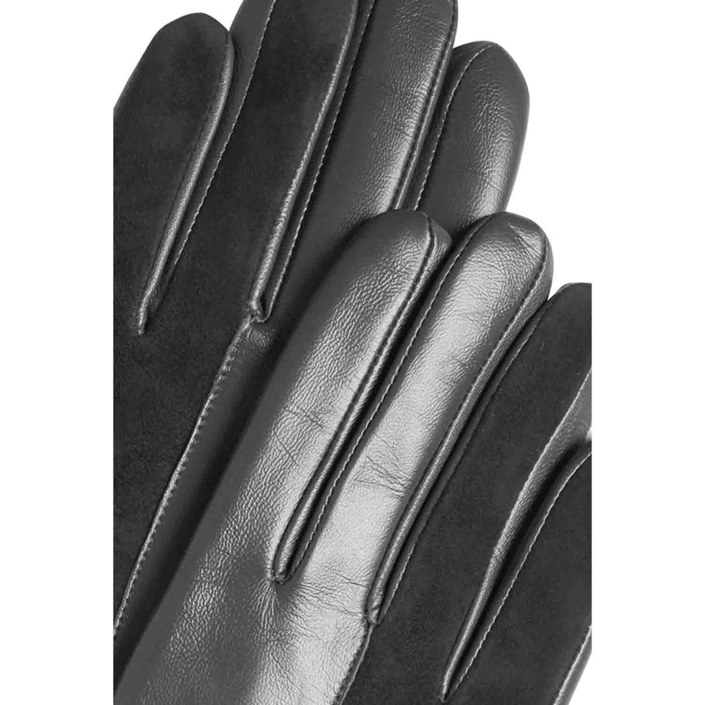 ichi black leather and suede gloves