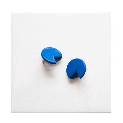 Bold blue circle stud with a fold back by azadeh