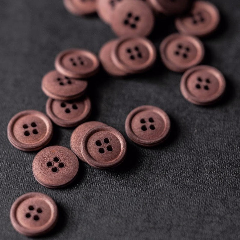 Oxblood Cotton Button 15mm