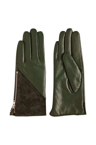 ICHI Dark Olive Leather & Suede Gloves - Coffee and Cloth
