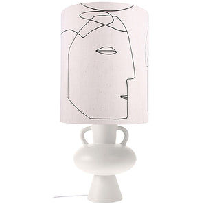 Printed Face Lamp Shade With Base