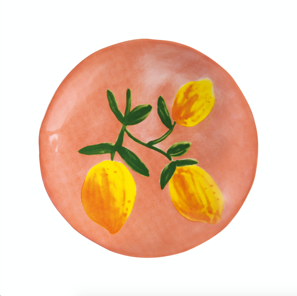 image of &klevering lemon plate on pink background