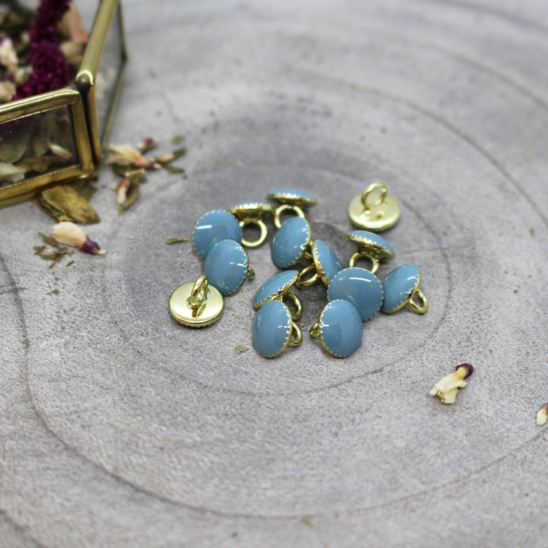 Blue & Gold Gem Buttons