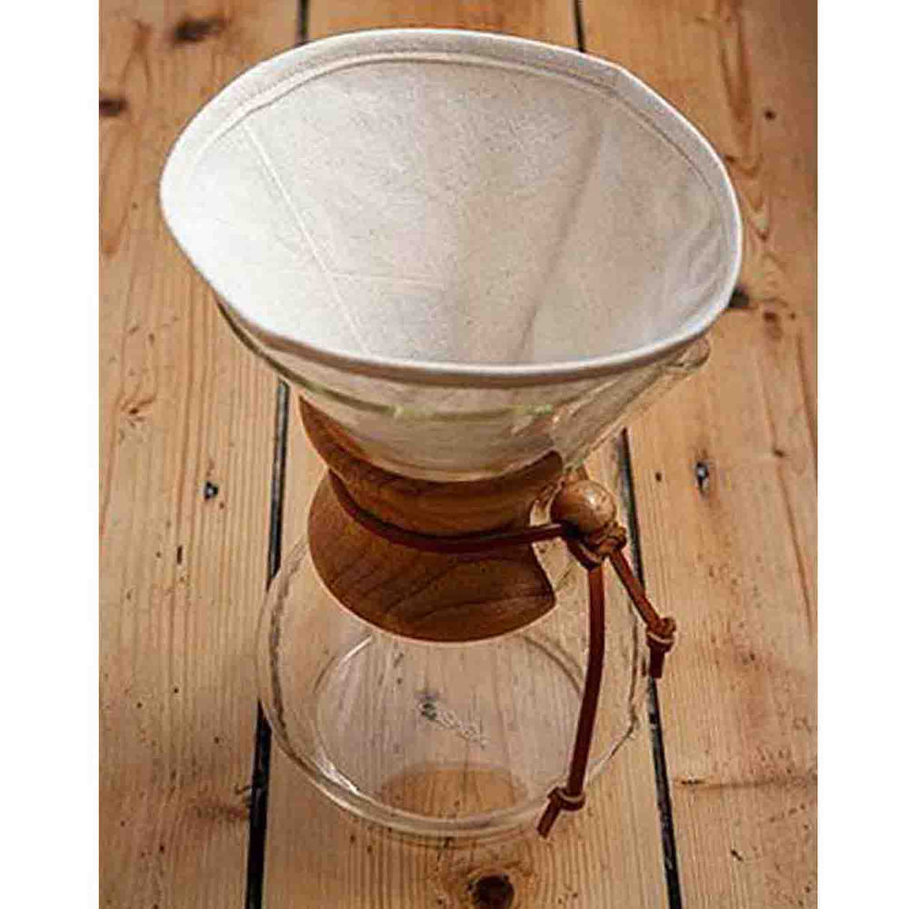 glass wooden Chemex with reusable cloth filter