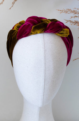 cloth label mustard & magenta silk velvet celtic headband on mannequin