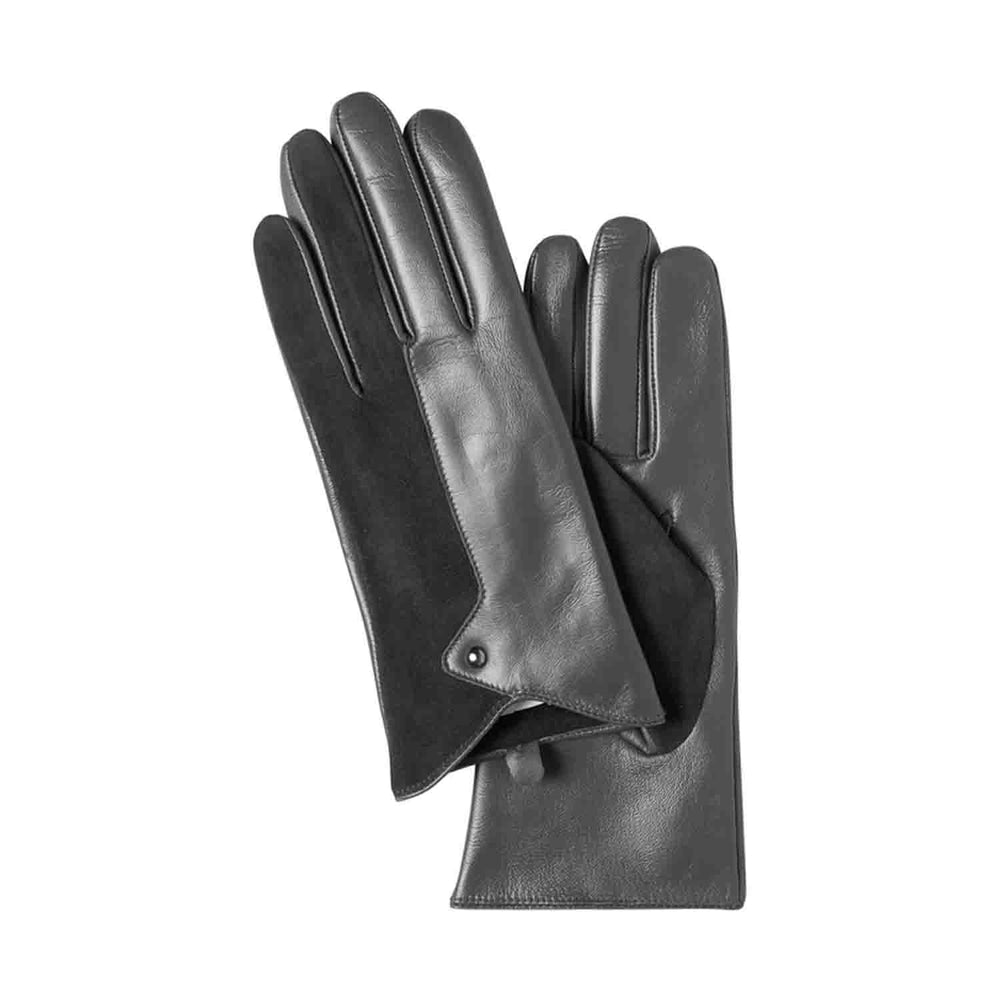 ichi black leather and suede combination gloves