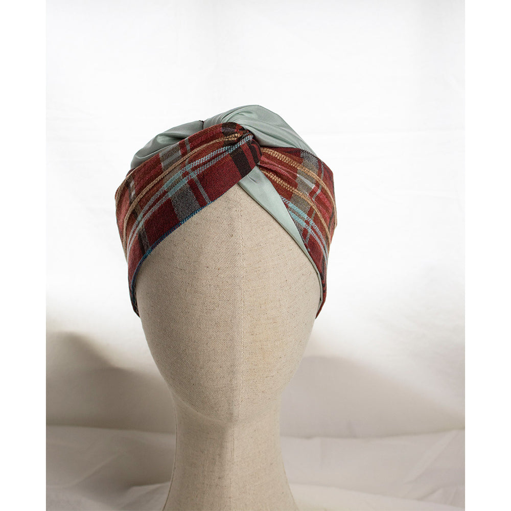 Checkprint & Silk Mint Headband Isola | Coffee & Cloth UK