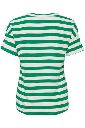 Load image into Gallery viewer, ICHI Green Stripe T- Shirt - Coffee and Cloth