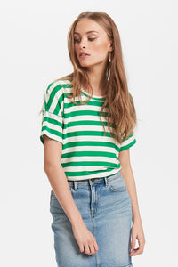 soft casual green stripe t-shirt by Danish brand ICHI at Coffee and Cloth