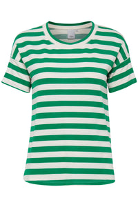 ICHI Green Stripe T- Shirt - Coffee and Cloth