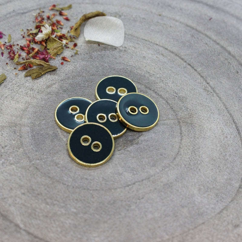 Deep Green Forest & Gold Buttons
