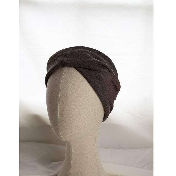 brown jersey wool & silk headband styled on a mannequine head