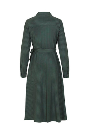 mbym wrap over otitia shirt dress green and black stripes