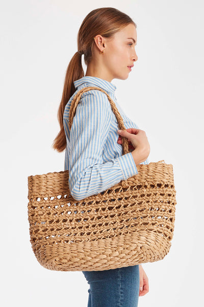 ICHI Woven Straw Shopper Tote Bag - Coffee and Cloth