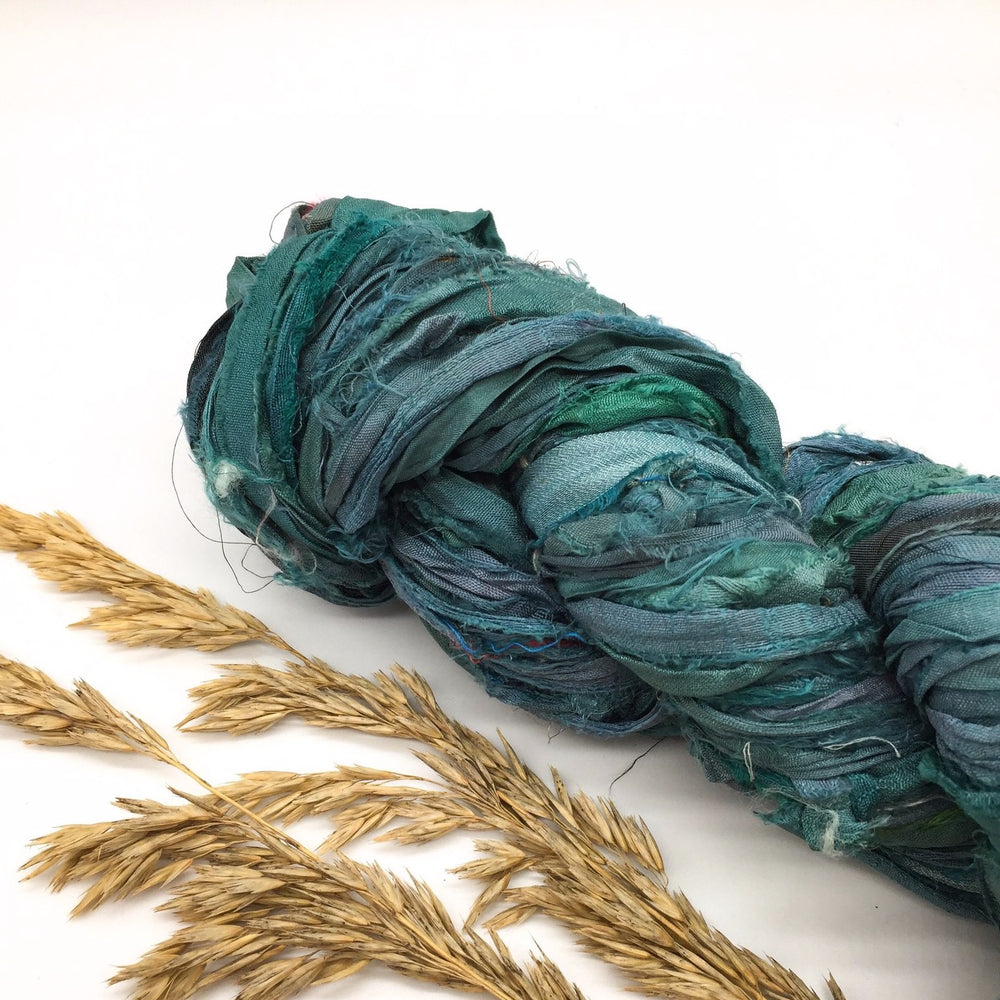 Load image into Gallery viewer, Deep Ocean Dyed Recycled Silk Sari Ribbon