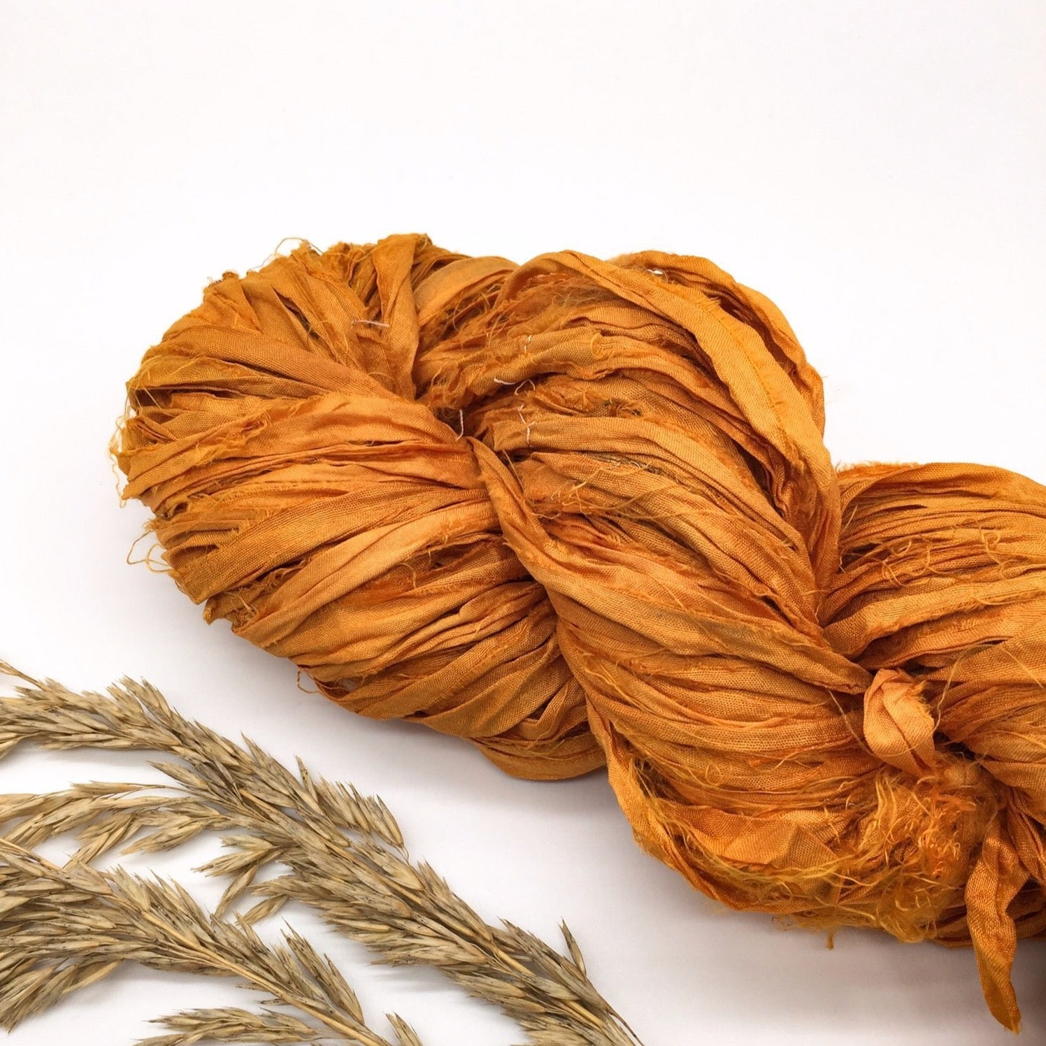 Pumpkin Recycled Silk Sari Ribbon