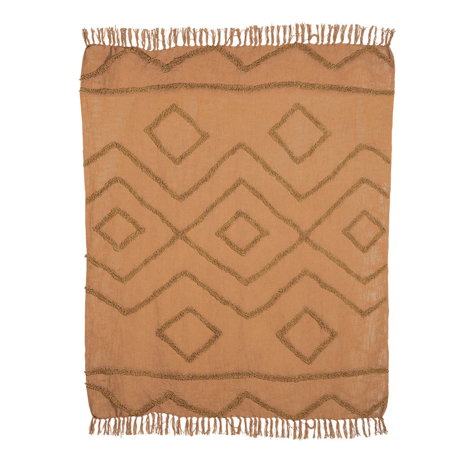 flat lay of HK living fringe cotton throw in rust colour