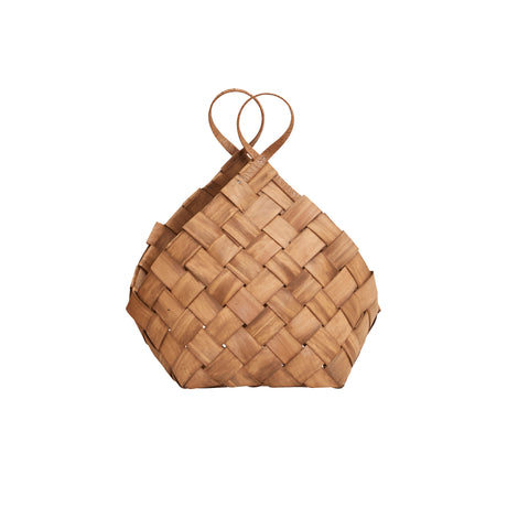 House Doctor Small Conical Basket With Handle - Coffee and Cloth