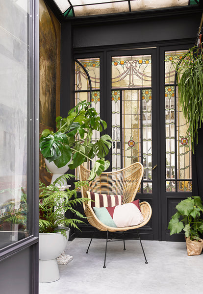 lifestyle picture of HK Living Kyoto Cushion on a rattan chair