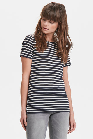 ICHI Cadis Navy Blue And White Striped Top