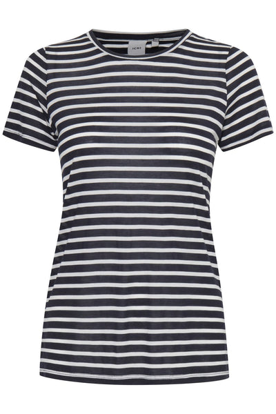 ICHI Cadis Navy Blue And White Striped Top - Coffee and Cloth