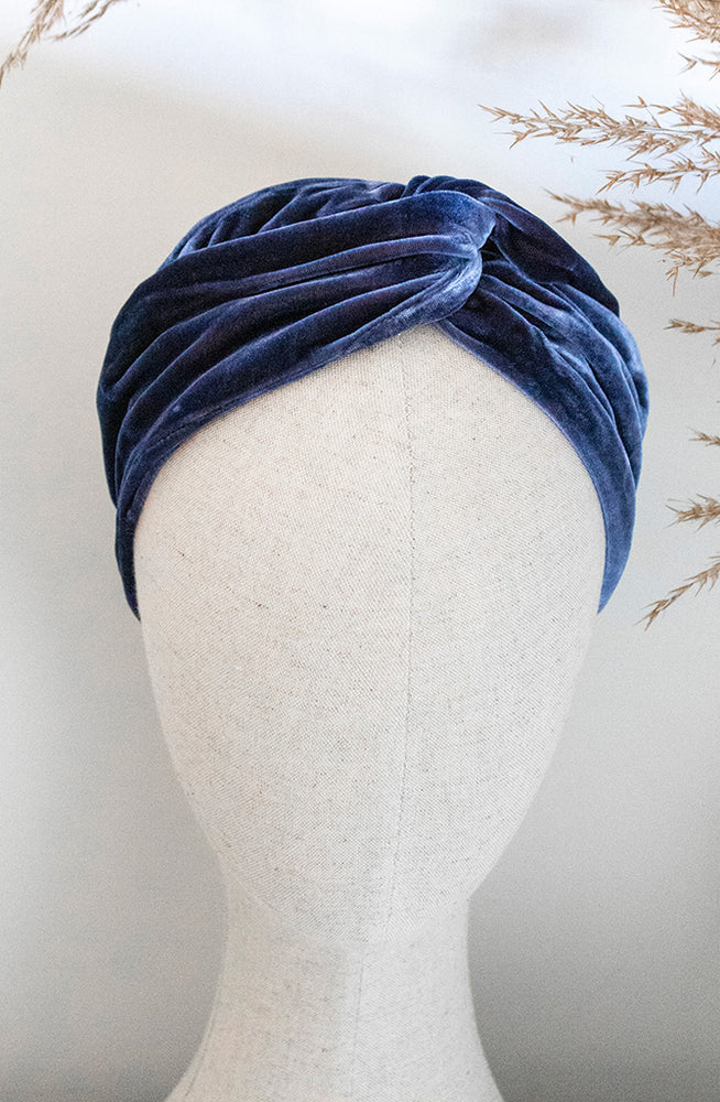 Load image into Gallery viewer, Navy Blue Silk Velvet Headband on mannequin head