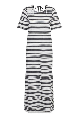 ICHI Black Stripe Jersey Dress - Coffee and Cloth