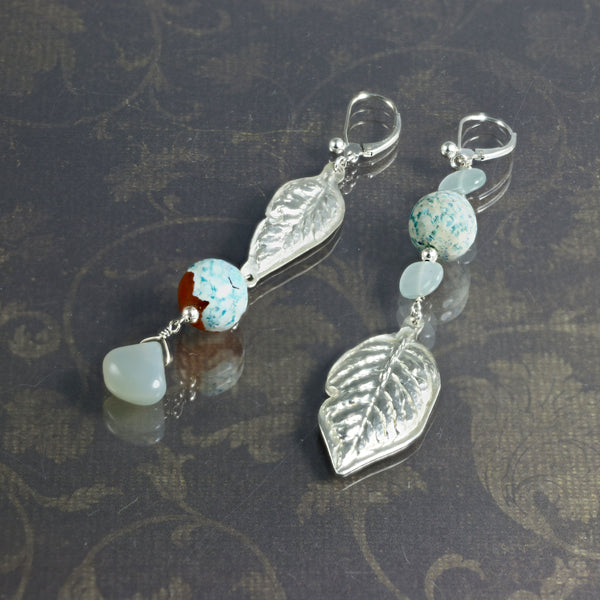Long blue and silver gemstone leaf earrings - jbEbert studio art jewelry