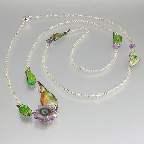 Silver chain with amethyst stalactite and enamel - jbEbert studio art jewelry