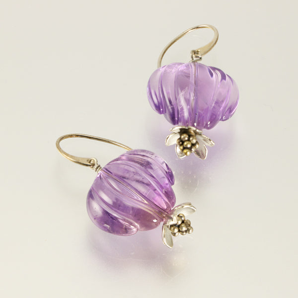 Silver carved amethyst earrings - jbEbert studio art jewelry