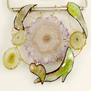Fairy sprite necklace enameled with amethyst stalactite - jbEbert studio art jewelry