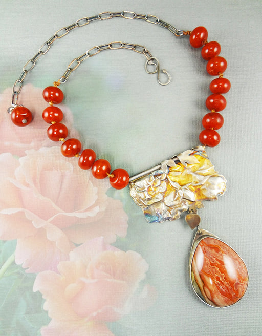 Red agate necklace with silver repousse rose pendant - jbEbert studio art jewelry